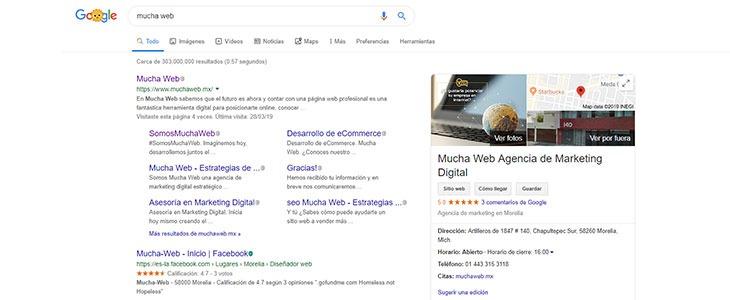 SERP interfaz de páginas de resultados de Google